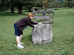 Gerda, Switzerland - Placing Dove on Pasture Stone